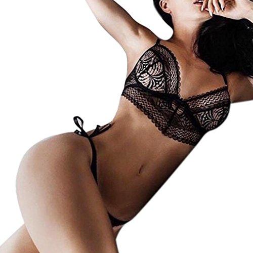 Bikinis Sets Damen, Sunday Frauen Dessous Korsett Spitze Blumen Push Up Top BH + Hosen Unterwäsche Set (Schwarz, S) (Teddy Bikini)