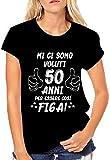 Puzzletee T-Shirt Compleanno Donna Maglietta 50° Compleanno - Mi Ci Sono Voluti 50 Anni per Essere così Figa - Idea Regalo