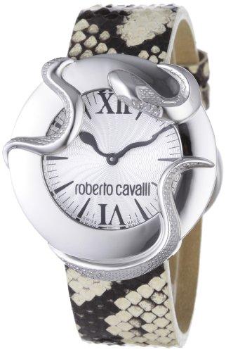 Roberto Cavalli R7251165815 - Reloj analógico de cuarzo para mujer con correa de piel, color plateado
