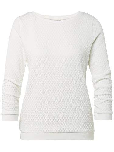 Tom Tailor Denim (NOS) Damen Sweatshirt Pullover Mit Trendy Blumenmuster Elfenbein (Off White 10332) X-Small (Herstellergröße: XS)