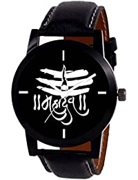 Iconic Black Dial Black Leather Mahadev Latest Analogue Watch - For Men