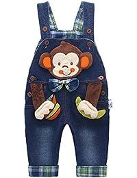 Kidscool - Mono de mezclilla para bebé y niños pequeños, de algodón, con dibujos animados en 3D