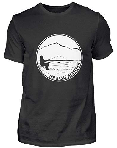 (Ich Hasse Menschen Angeln Fischen Geschenk - Herren Shirt -XL-Schwarz)
