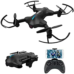 ATOYX Drone avec Caméra AT146 Drone Pliable Hélicoptère Télécommande WiFi avec Mode sans Tête, Induction de Gravité, Maintien d'altitude, Jouet et Cadeau pour Enfant/Débutant/Adulte - Noir