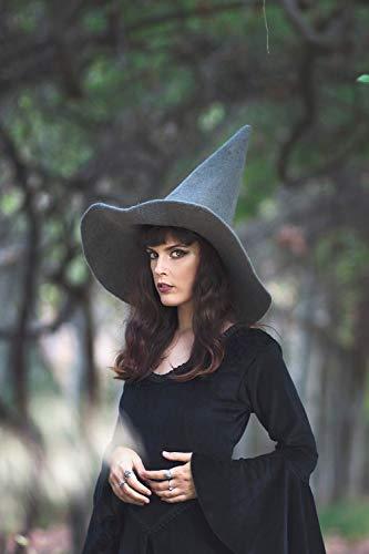 Hexenhut grau wolle, Halloween kostüm (Womens Hut Halloween-kostüme)