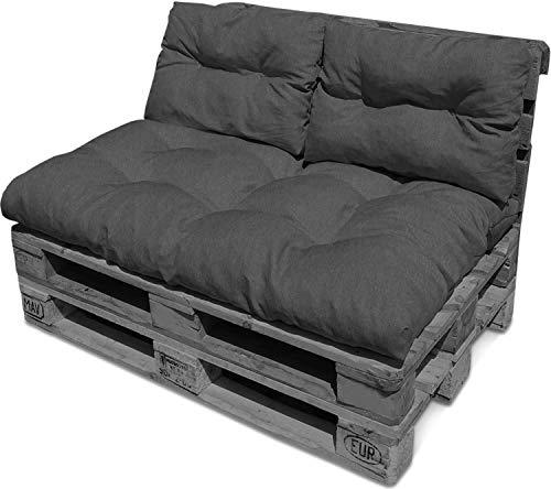 normani Gemütliches Palettenkissen-Set bestehend aus einem großen Sitzkissen (120 cm x 80 cm) und Zwei Rückenkissen Farbe Dunkelgrau
