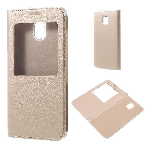 jbTec® Flip Case Handy-Hülle mit Fenster #M50 zu Samsung Galaxy J-Serie - Handytasche Schutz Cover Bookstyle Booklet, Farbe:Gold, Modell:Galaxy J7 2017 / SM-J730