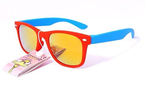 Sonnenbrille 4567jahren Gläser Runde Gläser rund Polarisiert Jungen Mädchen 72173VH monture rouge branches bleu verres jaune largeur:120mm hauteur:40mm - Bleu-glas
