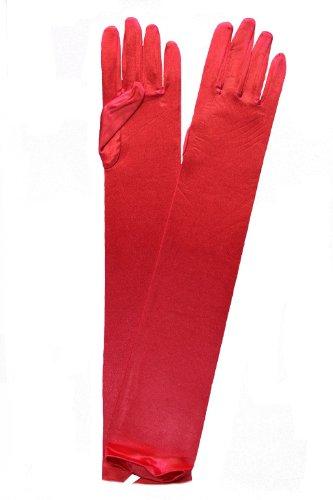 Generic paire de gants longs en satin élégante en mixte lisse Rouge - Rouge