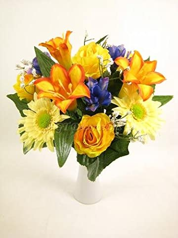 Mixed Artificial Flowers Bush with Lily Rose Gerbera Iris (Yellow) from GT Decorations