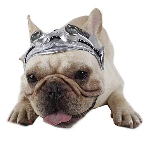 Englische Bulldogge Kostüm Halloween - CheeseandU Haustier-Hut, Vintage-Pilotmütze, verstellbar, mit Ohrlöchern,