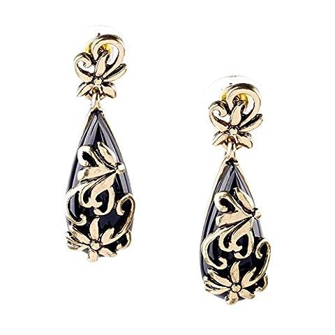 LARESDOMI Boucles d'oreilles pendantes élégantes Vintage Motif floral doré incrusté