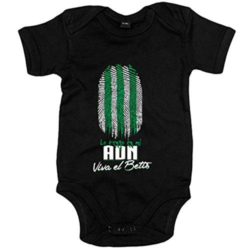 Body bebé lo tengo en mi ADN Betis fútbol - Negro, 6-12 meses