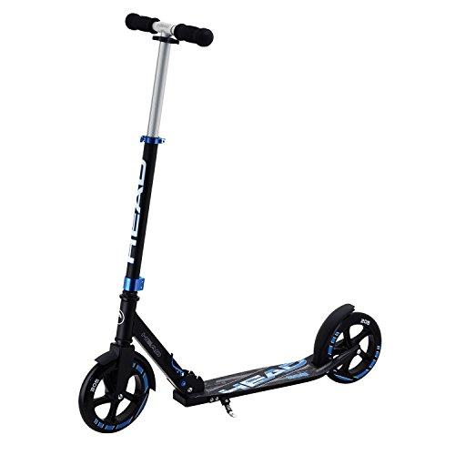 HEAD Aluminium Scooter inkl. Hinterradbremse I Kickscooter I klappbar I Big Wheel Scooter I Tretroller I Cityroller I Höhenverstellbar I Kinder- & Erwachsenen-Scooter I inkl. Ständer - Schwarz/Blau (3-rad-klapp-roller)
