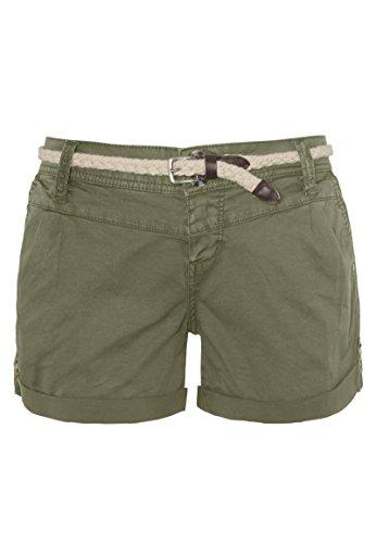 Eight2Nine Damen Shorts mit süßer Häkelspitze | Leichte Kurze Hose im Chino-Style mit Flechtgürtel Middle-Green XS - Grüne Jeans-shorts
