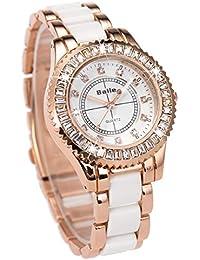 VATENZONE Mujeres Damas Cuarzo Reloj Cristal Diamante clásico Romatic Caso único Pulsera Rosa Oro y Blanco