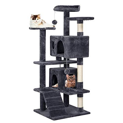 Yaheetech Tiragraffi Albero per Gatti Elegante Antiribaltamento con 2 Palle e Corde di Sisal Giocattolo Giochi Gatto Grigio