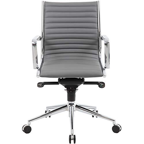 Certeo Bürodrehstuhl Abbey mit Lederbezug, grau - Bürostuhl mit Soft Touch Leder - Schreibtischstuhl mit italienischem Design