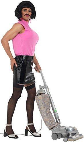 Herren Tarty Singing Hausfrau transsexueller Lustig Junggesellenabschied Nacht Comedy lustig Kostüm Kleid Outfit - Large (Schnurrbart-outfit)