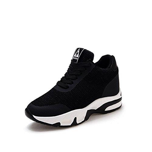 H-Mastery Damen Sneakers mit Keilabsatz 8cm Wedges Sportschuhe Freizeit Fitness Bequem Outdoor Leicht High Schuhe(Schwarz,Größe38)
