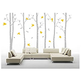 Masterly set of 6 Brichs Wall stickers,Gaint Grey Tree Wall Stickers for Home Decoration,Peel and Sticker Removable Wall Murals Art