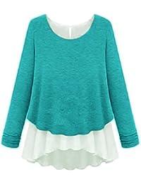 GZ-T02 Damen Longshirt Tunika 2 in 1 Shirt Bluse Tank Top Poncho T-shirt