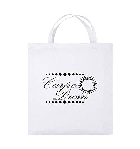 Comedy Bags - Carpe Diem - Sonne - Jutebeutel - kurze Henkel - 38x42cm - Farbe: Schwarz / Silber Weiss / Schwarz