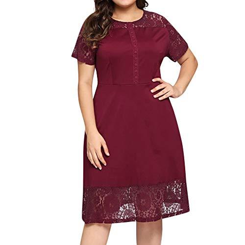 Elecenty Damen Übergröße Bürokleid Frauen Kurzarm Minikleid Abendkleid Partykleid Kniekleid Freizeitkleidung Sommerkleid