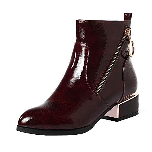 Y2Y Studio Femmes Bottines Chaussures Vernies Courtes Bout Rond à Talons Bloc 4.5cm Chunky Heels avec Fermeture Eclair Boots Chaussures Hiver Boots de Pluie Femmes
