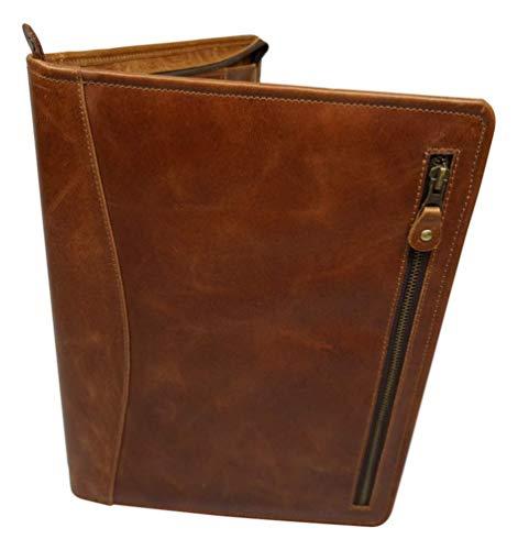CAMSTWO1 - Cartella portadocumenti in pelle per uomo, donna, scuola, tasche con cerniera, colore marrone