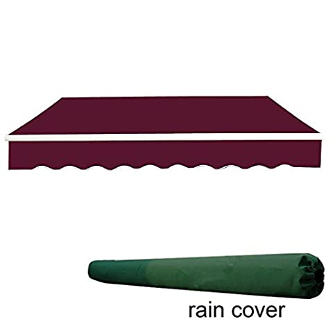 Greenbay 2x1.5m Garden Awning Replacement Fabric Top Cover Front valance Wine Red With Free Rain