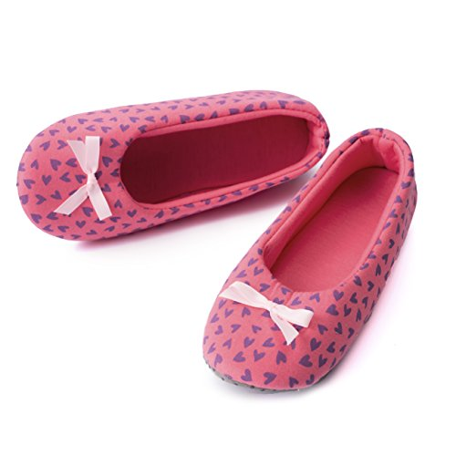 (TWINS Fashion « Rio » schöne & süße Damen-Hausschuhe I Ballerinas I Pantoffeln I Slippers - Plüsch Baumwolle rutschfest - diverse Farben (38/39, Dunkel-Rosa))