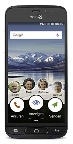 Doro 8040 Smartphone (12,7 cm (5 Zoll) Display, 8MP Kamera, 16GB Speicher) Graphit