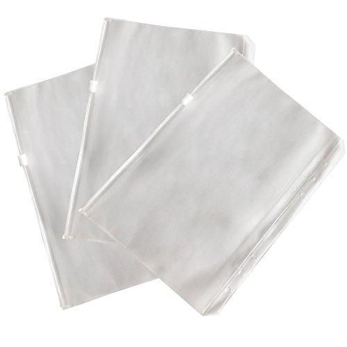 fittoway 36Löcher PVC transparent Binder Taschen Standard loseblattwerken Notebook Refills Filler Organizer Tasche mit Reißverschluss Business Karte Aufbewahrungstasche A6 Zipper Style