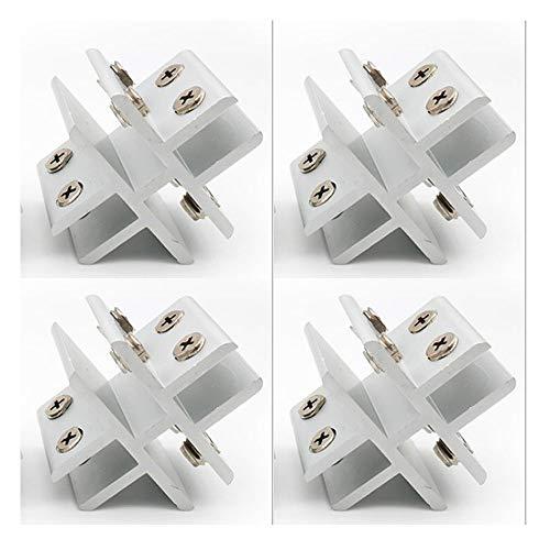 Set mit 4 NUZAMAS Kreuzform-Glasklemmen, Glas-zu-Glas-Halter, Anschlussklemme für Glas an 4 Seiten, Dusche, Tische, Platten, Klemmung 10-12 mm - 4 Seiten Glas