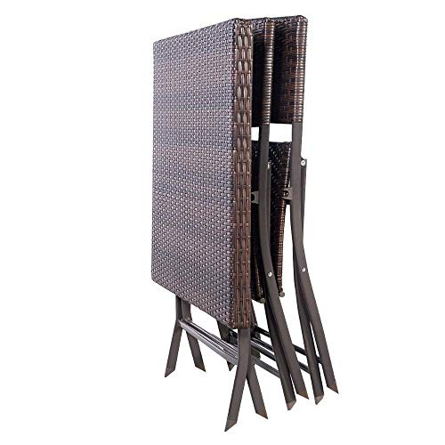 HAOHAODONG 3 PC Outdoor Klapptisch Stuhl Möbel Set Rattan Wicker Bistro Patio Brown Gartenmöbel-Stühle & Glasplatte Couchtisch Set -
