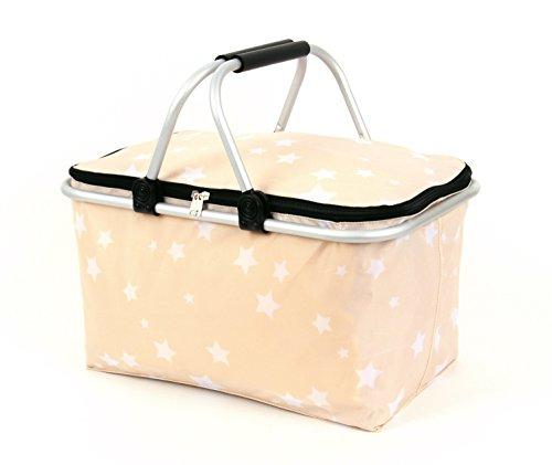 Einkaufskorb isoliert mit Deckel bis 25 kg belastbar Alu Rahmen Farbe : beige mit weißen Sterne