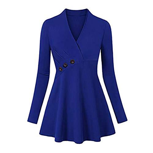 iHENGH Damen Top Women Mode LäSsige Plus GrößE V-Neck Solid Button Shirts Lange ÄRmel Hemd Bluse Pullover Tops