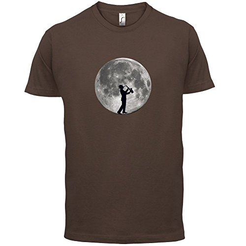 Saxophone Player Moon - Herren T-Shirt - 13 Farben Schokobraun