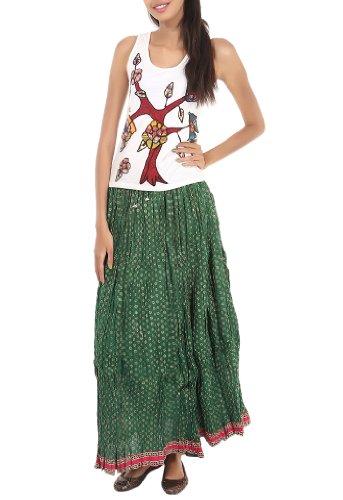 Rajrang Green Partywear Printed Women Skirts