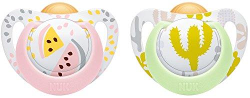 Preisvergleich Produktbild NUK 10172099 Genius Color Latex-Schnuller, kiefergerechte NUK Form, zahnfreundlich, 6-18 Monate, BPA frei, 2 Stück, Girl