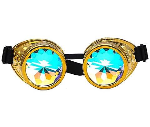 DODOING Kaleidoskop-Brille Steampunk, Goggles mit Rainbow Crystal Gläser - für Weihnachten, Halloween, Cosplay, Tanzparty, Convert, Musik Festival, EDM, Light Show, Foto Stütze, Sports (Golden)