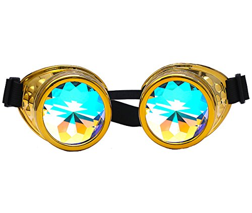 DODOING Kaleidoskop-Brille Steampunk, Goggles mit Rainbow Crystal Gläser - für Weihnachten, Halloween, Cosplay, Tanzparty, Convert, Musik Festival, EDM, Light Show, Foto Stütze, Sports (Golden)