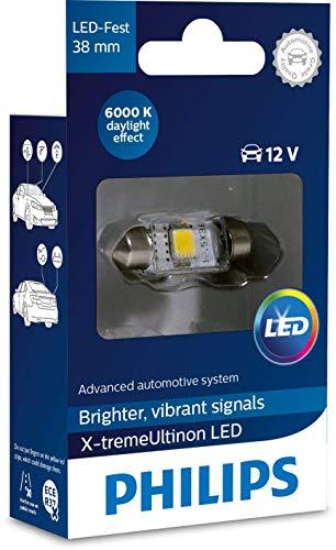 Philips automotive lighting 128596000KX1 X-tremeUltinon LED éclairage intérieur voiture C5W 38mm Festoon 6000K 12V, 1 pièce, 6.000K