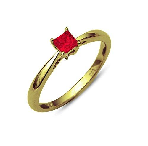 RS Jewels vergoldet Gelbgold 925Sterling Silber Schöne Hochzeit Verlobungsring Zinken Set 0,40Karat Prinzessschliff Granat rot Solitaire Ring Granat Ring Princess Cut