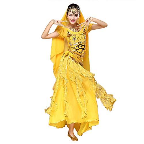Kostüm Girl 007 - TWIFER Damen Bauchtanz Outfit Kostüm Indien Tanzkleidung Top + Rock mit Laternehülse