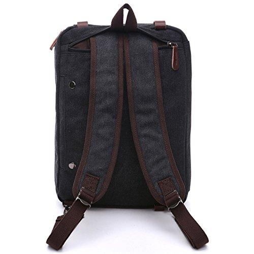 Outreo Herren Rucksack Backpack Canvas Schulrucksack Vintage Rucks?cke Schultaschen Schul Freitag Tasche Weekender Daypack Reiserucksack f¨¹r Uni Outdoor Sporttasche Laptoprucksack Schwarz One