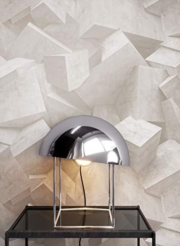 NEWROOM Steintapete Tapete Creme Quadrate Stein Modern Vliestapete Vlies moderne Design 3D Optik Steintapete Ziegelstein Backstein Mauerwerk Klinker Blöcke inkl. Tapezier Ratgeber