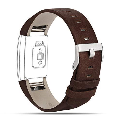 Für Fitbit Charge 2 Armbänder Leder Band, verstellbare Ersatz-Sportbänder für Fitbit Charge 2 Fitness Armband 2. Leder