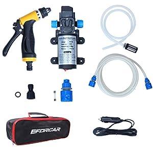 Lavadora eléctrica de coches, EFORCAR bomba de lavado de coches de alta presión, 12V 80W Lavadora eléctrica de la bomba…